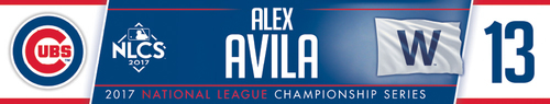 Photo of Alex Avila Game-Used Locker Nameplate -- NLCS Game 4 -- Dodgers vs. Cubs -- 10/18/17