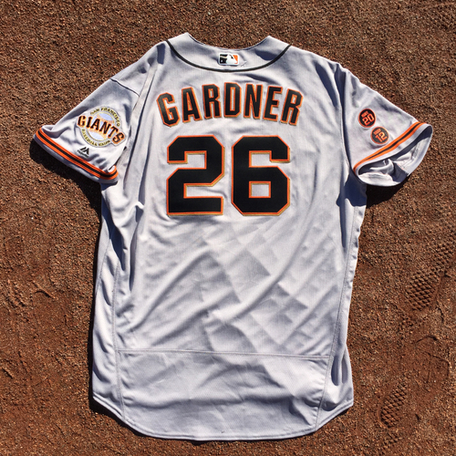 Photo of San Francisco Giants - 2016 Team-Issued Road Alt Jersey - Worn by #26 Mark Gardner on 7/24 @ NYY (Size: 50)