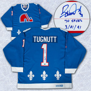 Ron Tugnutt Quebec Nordiques Autographed Retro CCM Jersey w 70 Saves Inscription