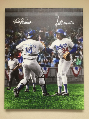 Photo of Mike Scioscia & Fernando Valenzuela Autographed 1st Win Canvas