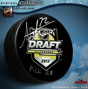 ANDREAS ATHANASIOU Signed 2012 NHL Draft Puck with