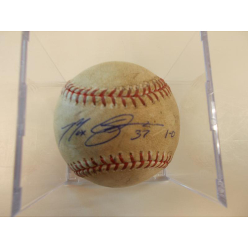 Photo of Autographed Game-Used Baseball: Max Scherzer First Win of 2013