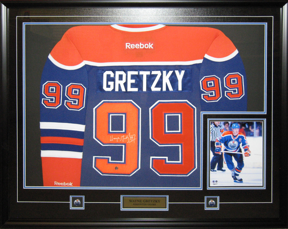 Wayne Gretzky - Signed & Framed Edmonton Oilers Blue Jersey Featuring 8x10