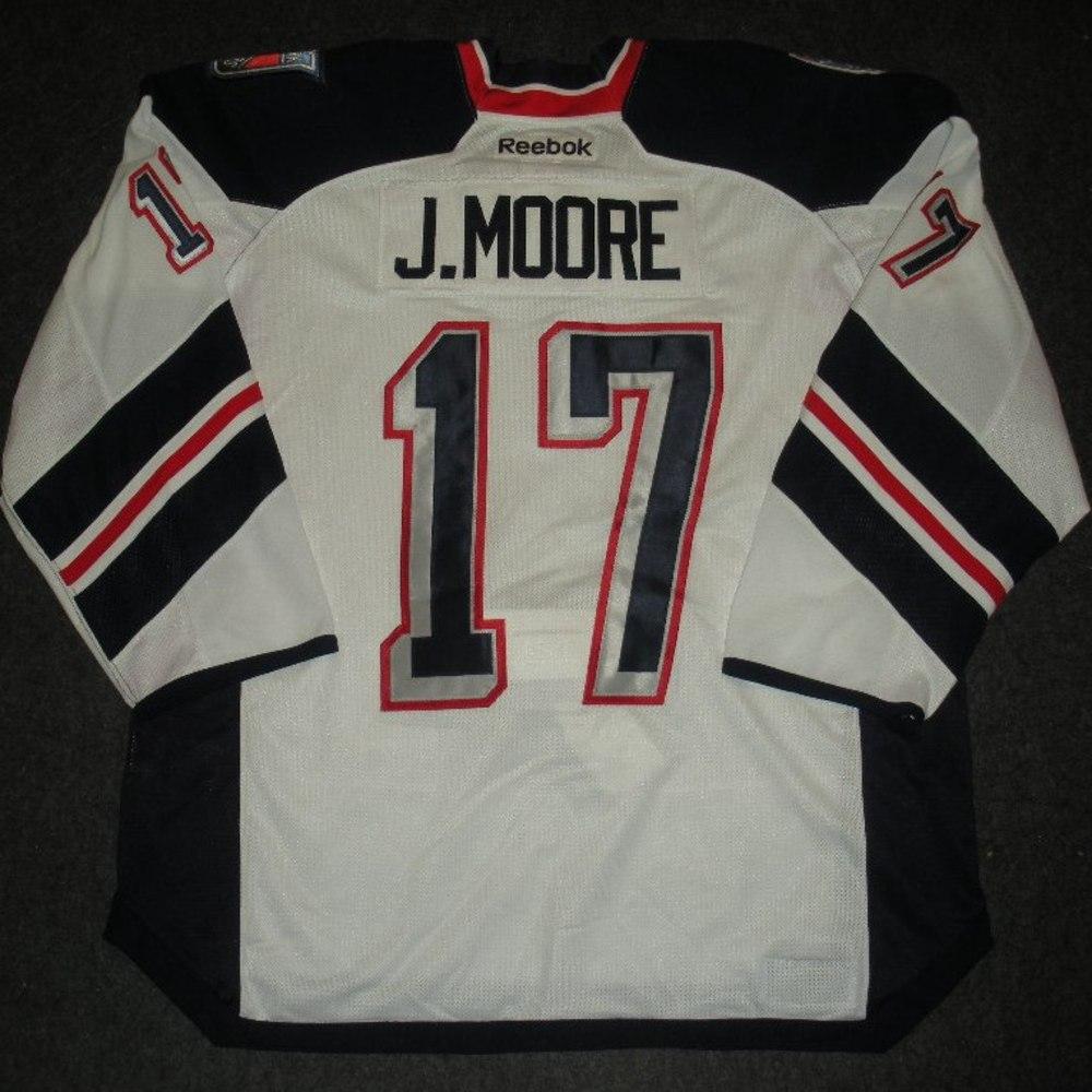 John Moore - 2014 Stadium Series - New York Rangers - White Game-Worn Jersey - Worn in First Period - 1/26/14 & 1/29/14