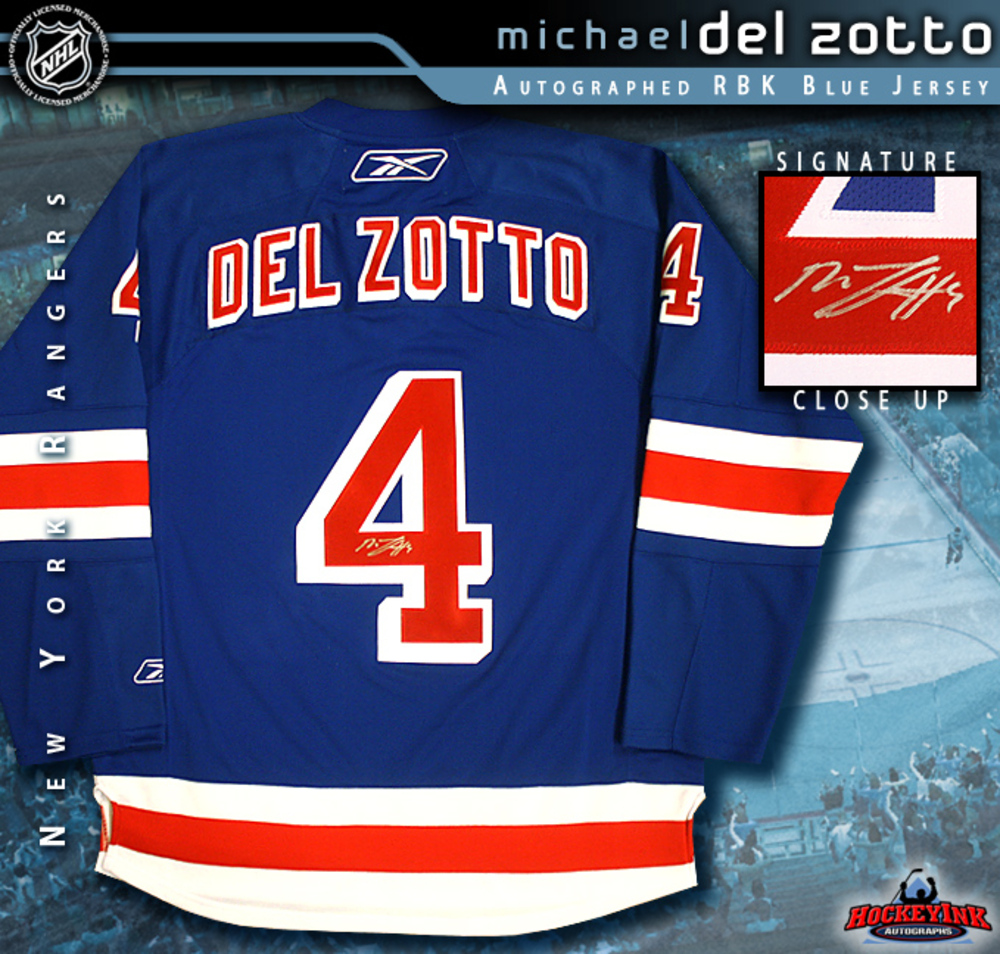 MICHAEL DEL ZOTTO Signed New York Rangers RBK Blue Jersey