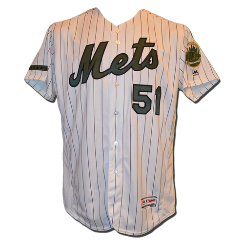 Photo of Paul Sewald #51 - Game Used White Pinstripe Memorial Day Jersey - 1 IP, 2 K - Mets vs. Brewers - 5/29/17