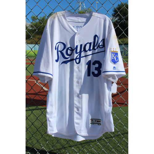 Photo of Game-Used Jersey: Salvador Perez 799th Career Hit, 800th Career Hit, 151st Career Double, & 409th Career RBI (Size 48 - COL at KC - 8/22/17)