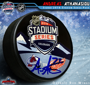 ANDREAS ATHANASIOU Signed Detroit Red Wings Stadium Series 2016 Souvenir Puck