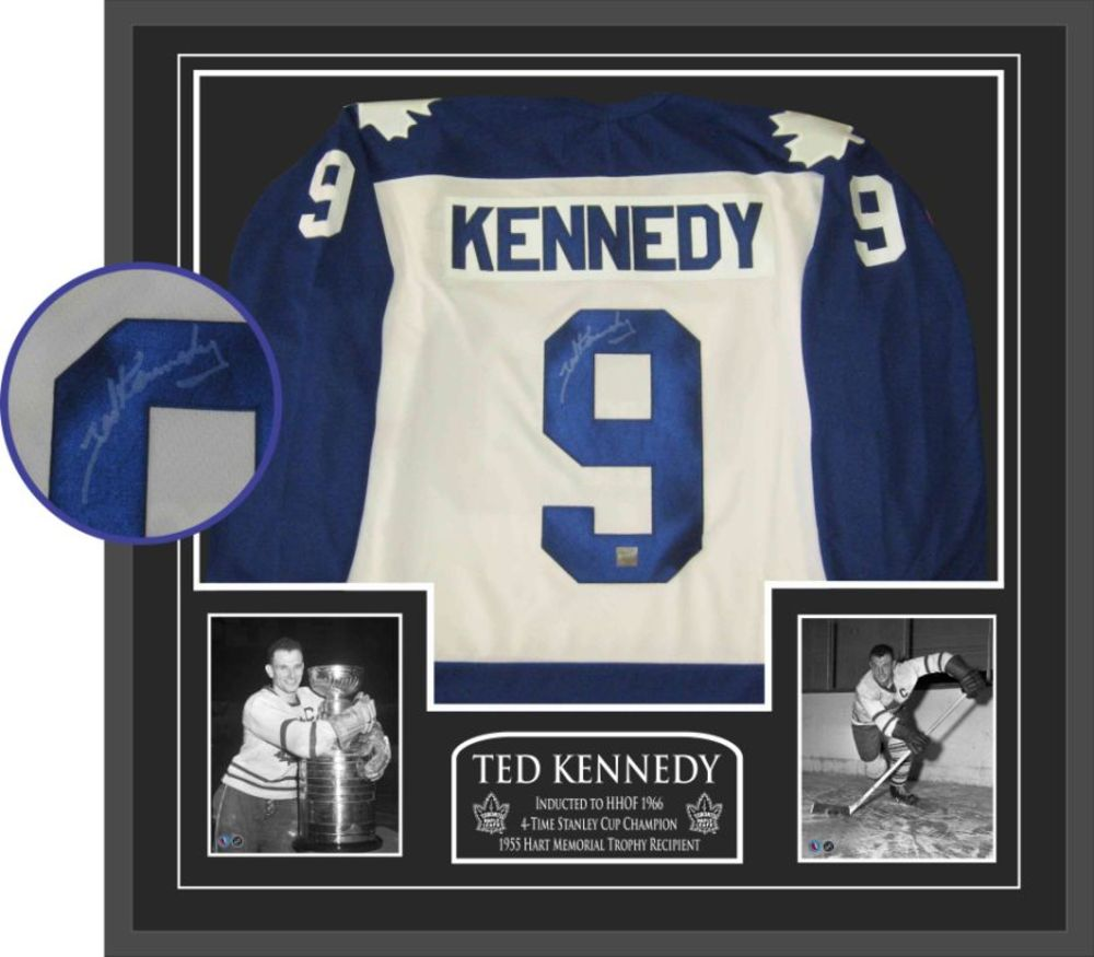 Kennedy Signed Framed Jersey Leafs Replica White
