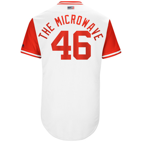 "Photo of Tim ""The Microwave"" Adleman Cincinnati Reds Game-Used Players Weekend Jersey"