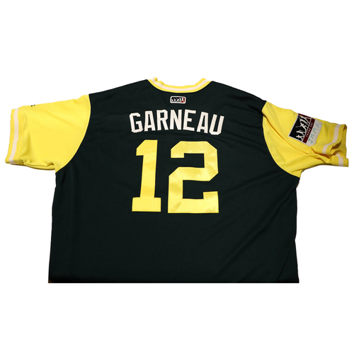 "Photo of Dustin ""Garneau"" Garneau Oakland Athletics Game-Used Players Weekend Jersey"