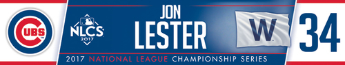 Photo of Jon Lester Game-Used Locker Nameplate -- NLCS Game 4 -- Dodgers vs. Cubs -- 10/18/17