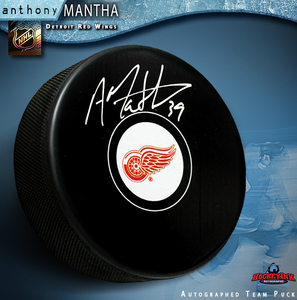 ANTHONY MANTHA Signed Detroit Red Wings Puck