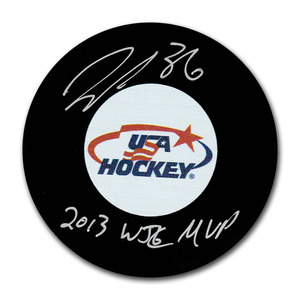 John Gibson Autographed USA Hockey Puck w/2013 WJC MVP Inscription (Anaheim Ducks)