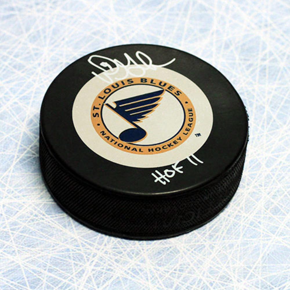 Doug Gilmour St. Louis Blues Autographed Hockey Puck with HOF Inscription