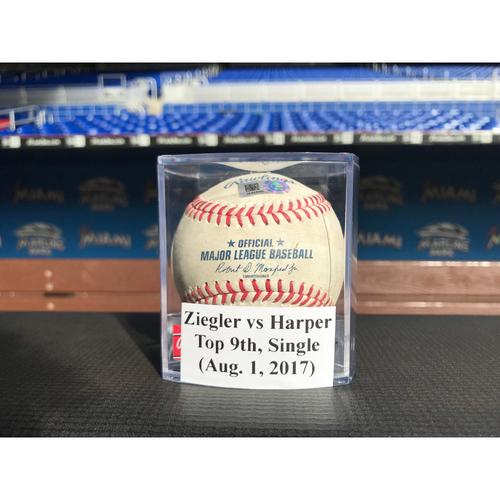 Game-Used Baseball: Ziegler vs Harper (Single)