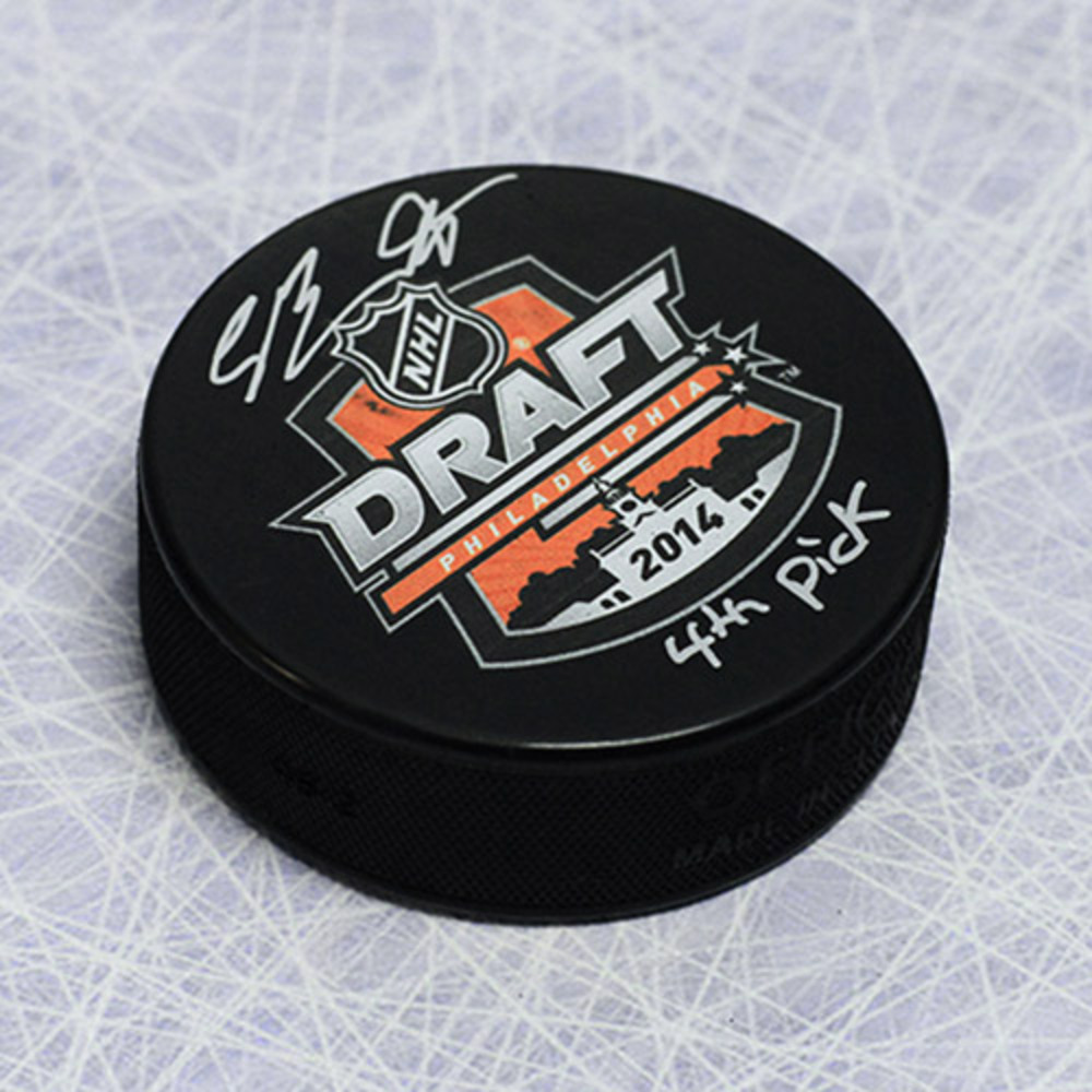 Sam Bennett 2014 NHL Draft Day Puck Autographed w/ 4th Pick Inscription *Calgary Flames*