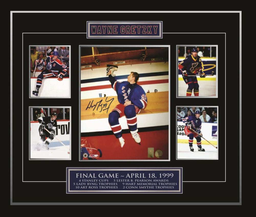 Gretzky Signed 11x14 wMini Photos & Plates Hanging Up Skates
