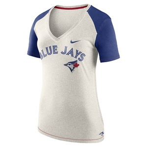 Toronto Blue Jays Women's V-Neck 1.8 Fan T-Shirt White by Nike