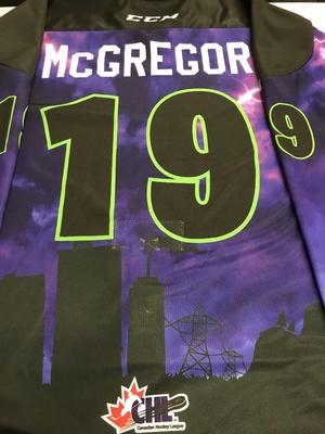 #19 Ryan McGregor Autographed game worn Sarnia Sting Esports jersey