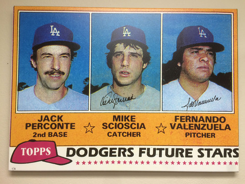 Photo of Mike Scioscia & Fernando Valenzuela Autographed Rookie Card Canvas