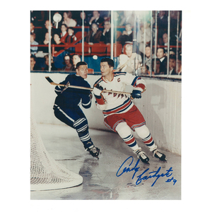 ANDY BATHGATE Signed Vintage New York Rangers 8 X 10 Photo - 70017