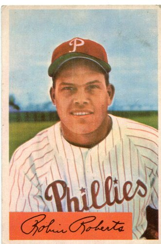 Photo of 1954 Bowman #95 Robin Roberts -- Phillies Hall of Famer