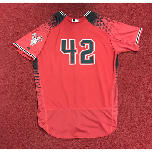 "Photo of Jeff Mathis Game-Used 2017 ""42"" Jersey"