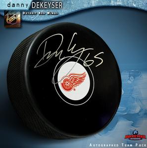 DANNY DEKEYSER Signed Detroit Red Wings Puck