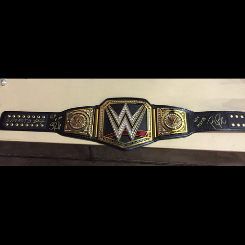 Photo of Dean Ambrose, Seth Rollins, & Roman Reigns SIGNED WWE Championship Replica Title
