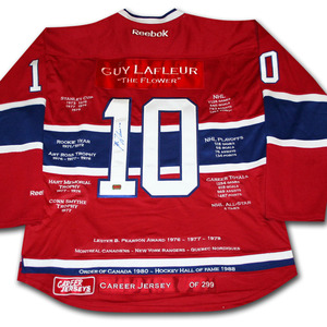 Guy Lafleur Autographed Montreal Canadiens Limited-Edition Career Stats Jersey