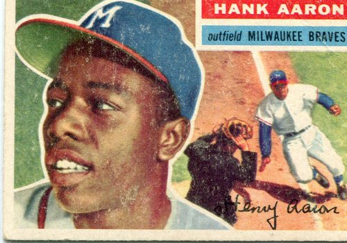 Photo of 1956 Topps #31A Hank Aaron Gray Back -- Hall of Famer