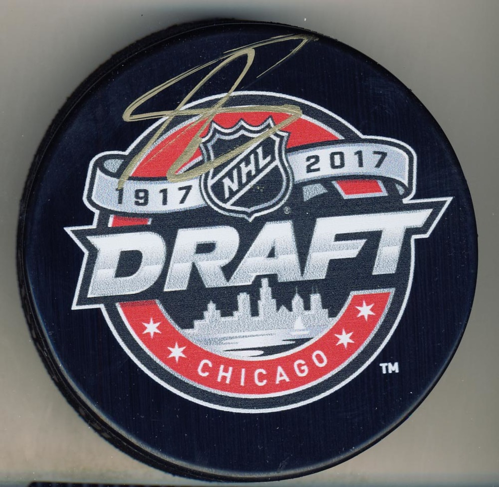 Nolan Patrick Brandon Wheat Kings Autographed 2017 NHL Draft Day Hockey Puck *Autograph Slightly Streaky*