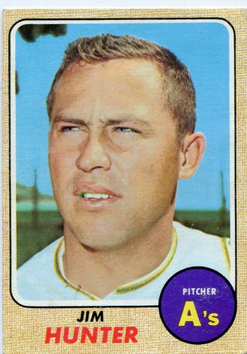 Photo of 1968 Topps #385 Jim Hunter -- Hall of Famer