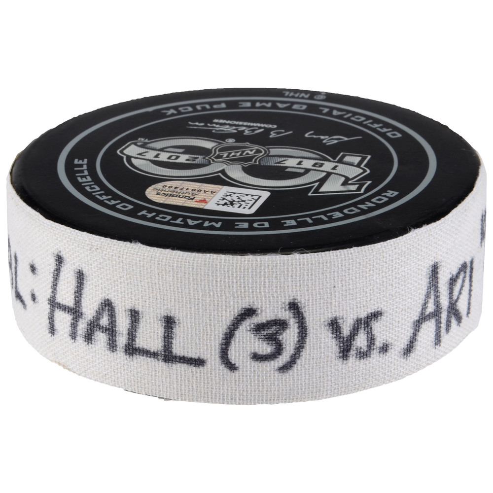 Taylor Hall New Jersey Devils Game-Used Goal Puck from October 28, 2017 vs. Arizona Coyotes - Second Goal of Two Goals Scored