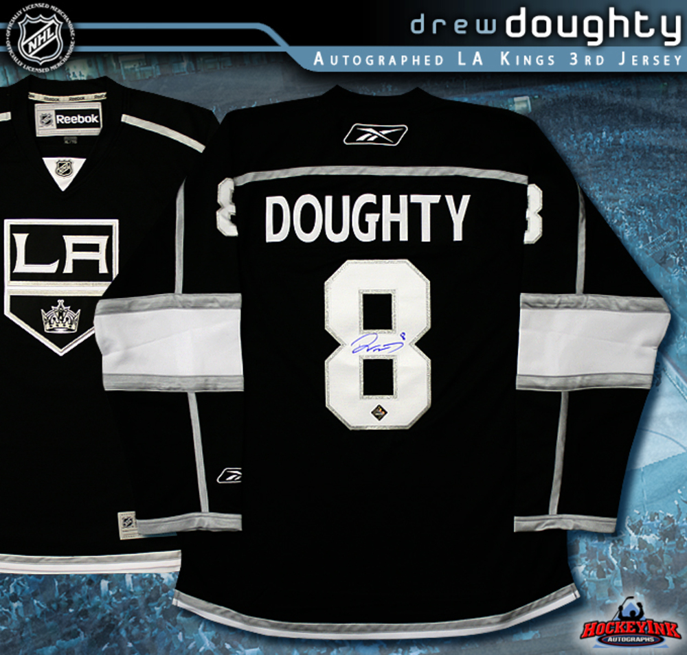 DREW DOUGHTY Signed Los Angeles Kings RBK Black Jersey