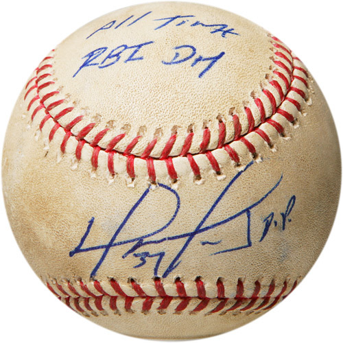 Photo of Autographed Game-Used Baseball from the game when David Ortiz broke the record for Most RBI's by a Designated Hitter, Inscribed All-Time RBI DH