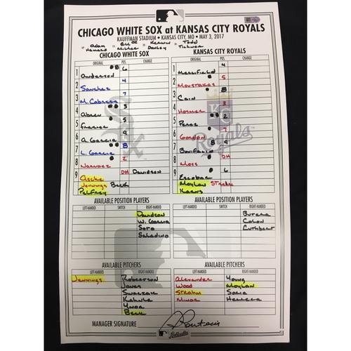 Photo of Large Lineup Card from May 3, 2017: Chicago White Sox vs. Kansas City Royals