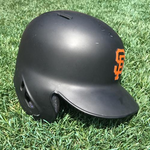 Photo of San Francisco Giants - Game-Used - Broken Helmet - Brandon Crawford