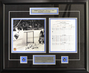 Darryl Sittler - Signed & Framed 10x10 Celebration Photo & Scoresheet - 10 Point Night