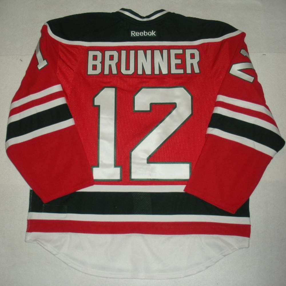 Damien Brunner - 2014 Stadium Series - New Jersey Devils - Red Game-Worn Jersey - Worn in First Period