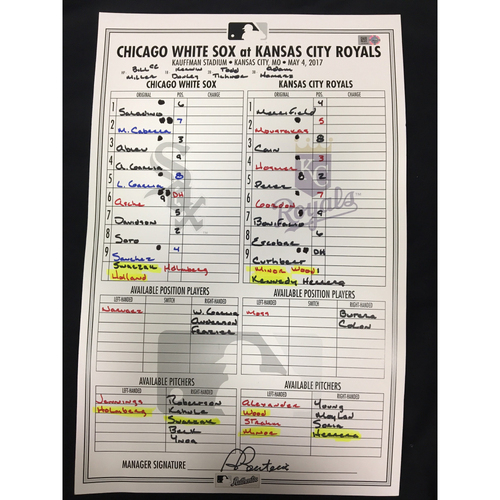 Photo of Large Lineup Card from May 4, 2017: Chicago White Sox vs. Kansas City Royals
