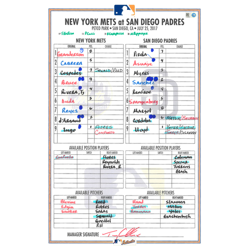 Photo of Game Used Lineup Card - Yoenis Cespedes Goes 3-4, 2B, 3B, HR - Mets Win 6-5 - Mets vs. Padres - 7/25/17