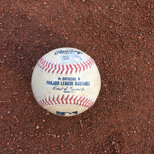 Photo of San Francisco Giants - 2016 Game-Used Baseball - B1 German Marquez to Brandon Belt - Double to LF - 9/27 - COL vs SF