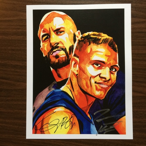 "Photo of Cesaro & Tyson Kidd SIGNED 11"" x 14"" Rob Schamberger Print"