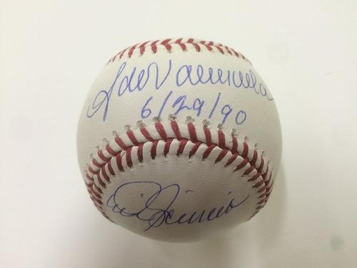 Photo of Mike Scioscia & Fernando Valenzuela Autographed No Hitter Ball