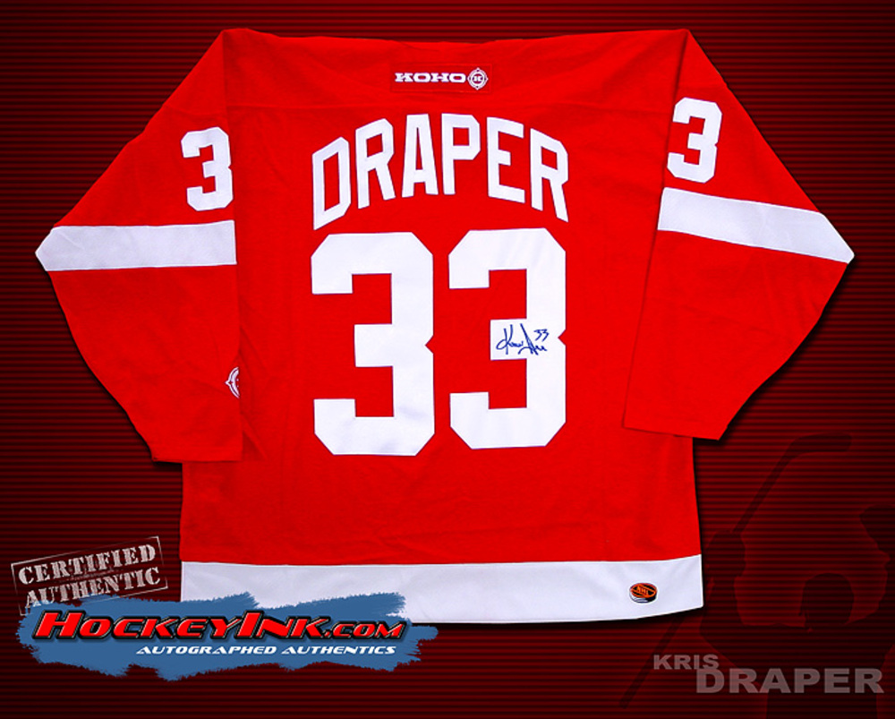 KRIS DRAPER Signed Red Detroit Red Wings CCM Jersey