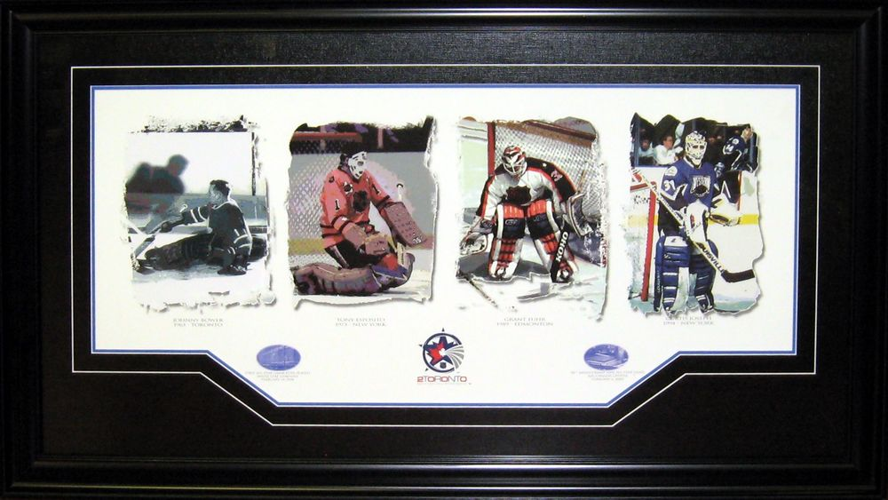 All-Star Protection - Deluxe Framed Johnny Bower, Tony Esposito, Grant Fuhr, and Curtis Joseph