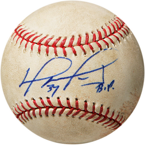Photo of Autographed Game-Used Baseball from David Ortiz's 1500th Career Hit Game, Inscribed - My 1500 Hit