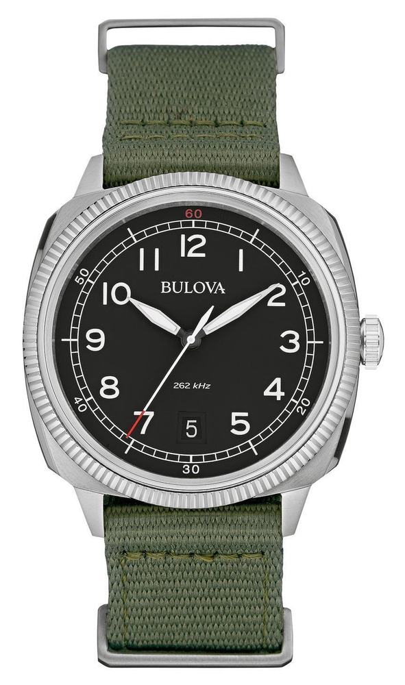 Bulova Black Dial Green Nylon Band 262kHz 100M Men's Watch 96B229